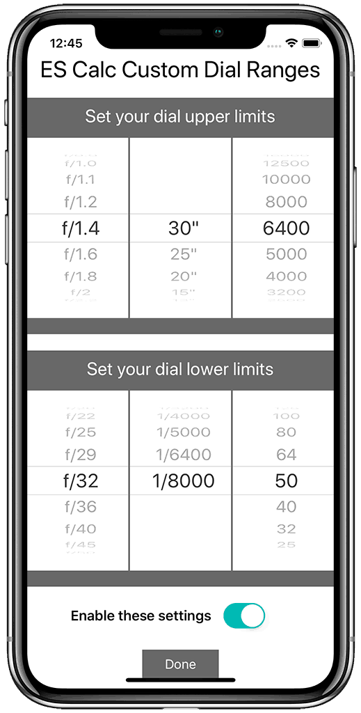 Exposure Shift Calculator Settings