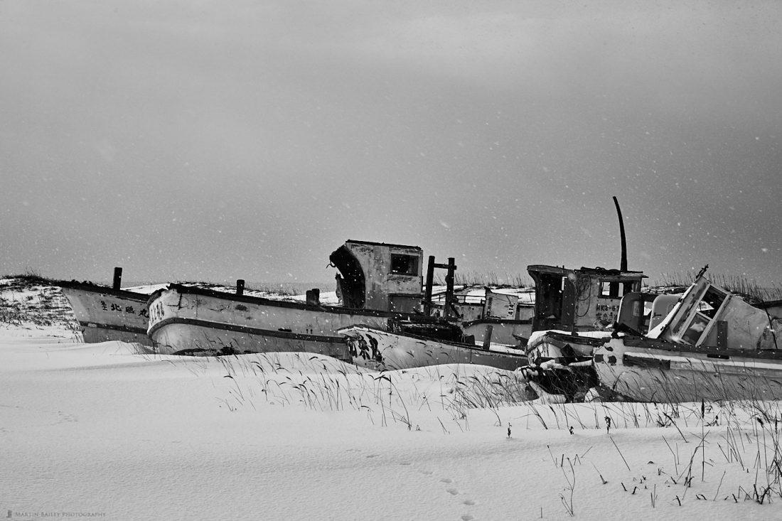 Boat Graveyard in Snow