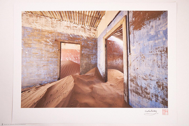 Kolmanskop Blue Sand-Filled Room Print on Belgian Linen