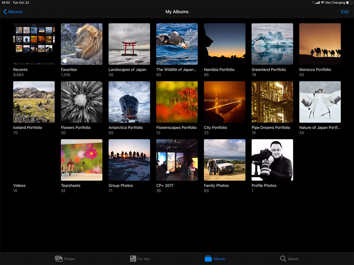 Albums in Photos on the iPad