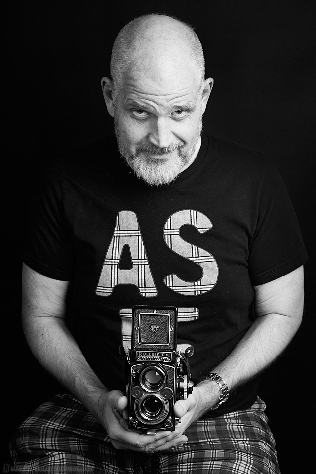 Brian Wood-Koiwa with his Rollei
