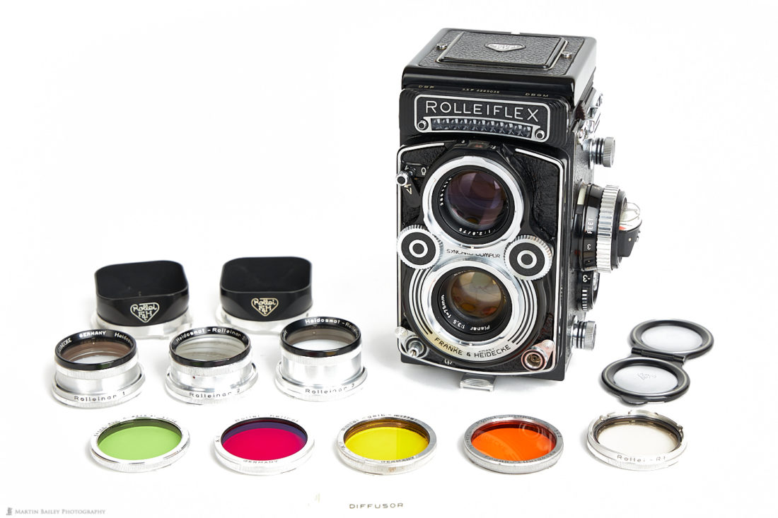 Rolleiflex 3.5F with Rolleinar Close-up and Color Filters