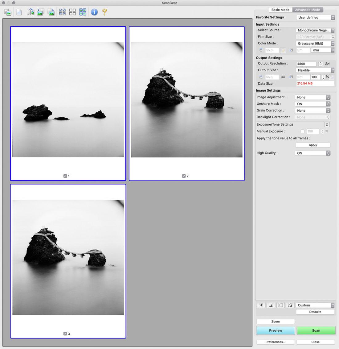 Scanning 120 Film CanonScan ScanGear