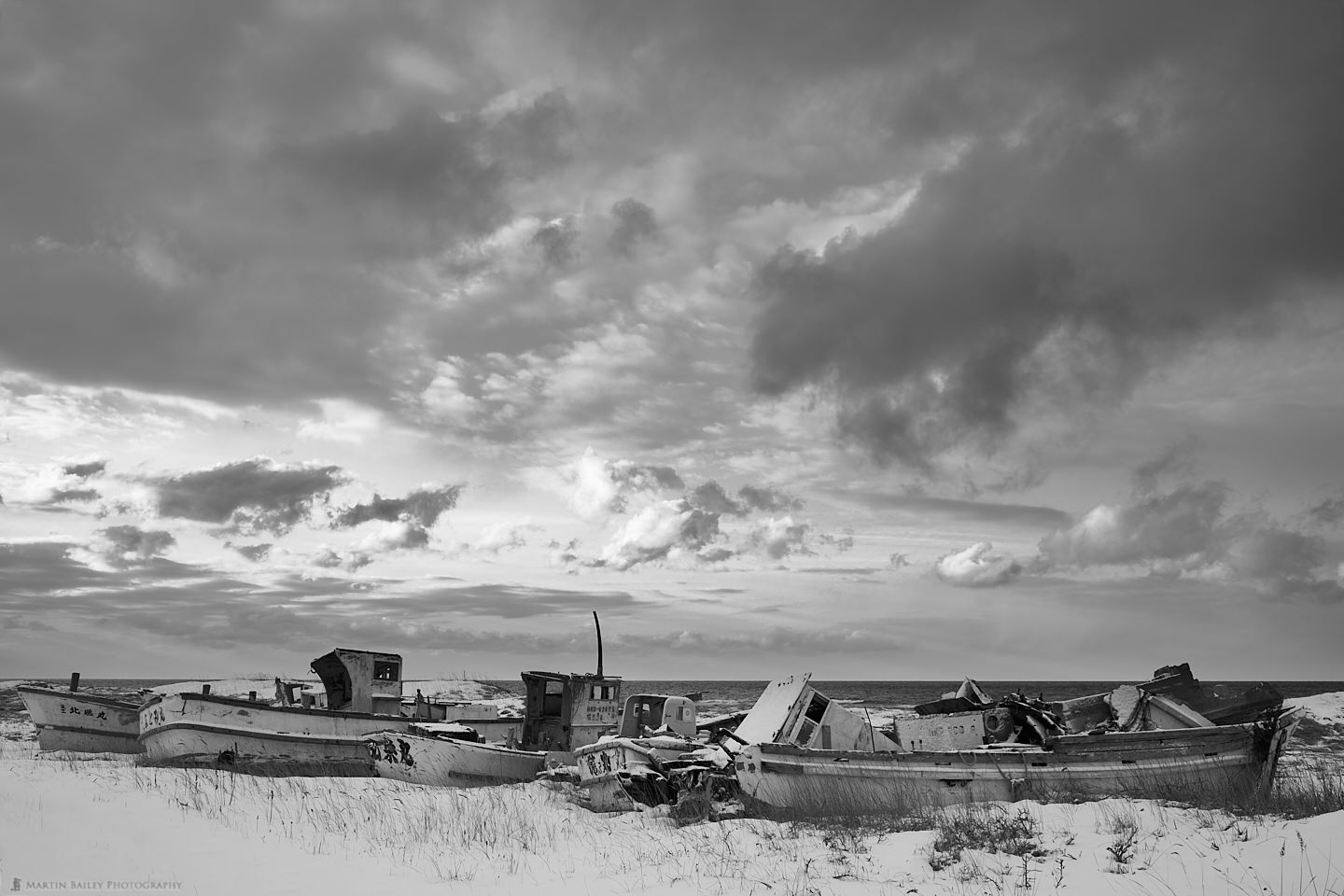 Boat Graveyard with Wild Sky