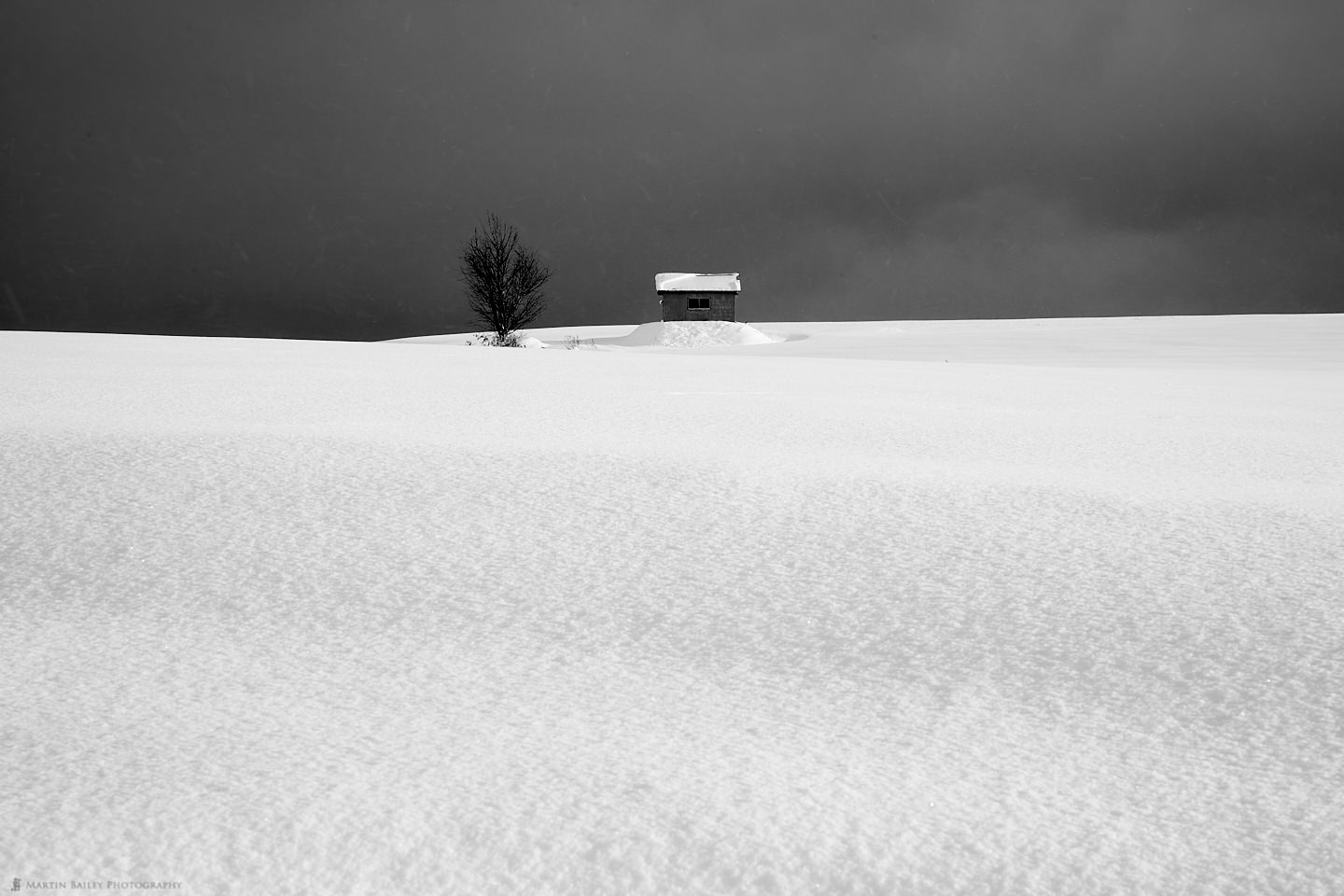 Hut and Tree on Hill