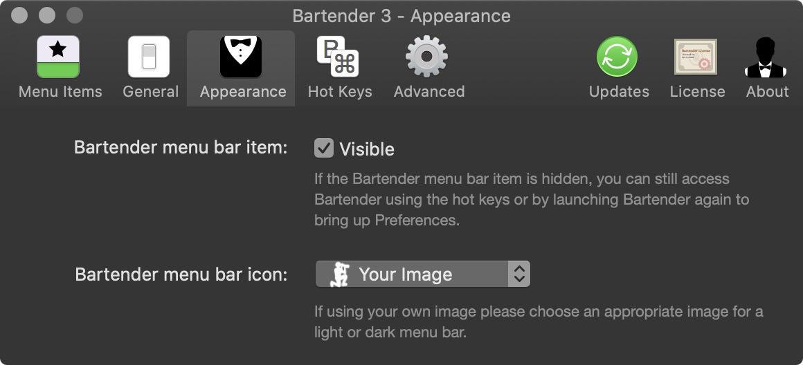 Bartender Appearance Settings