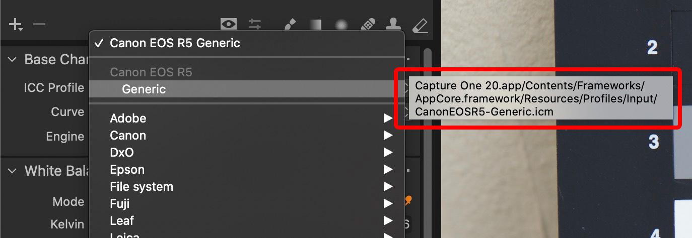 Locate Generic Capture One Pro Camera Profile