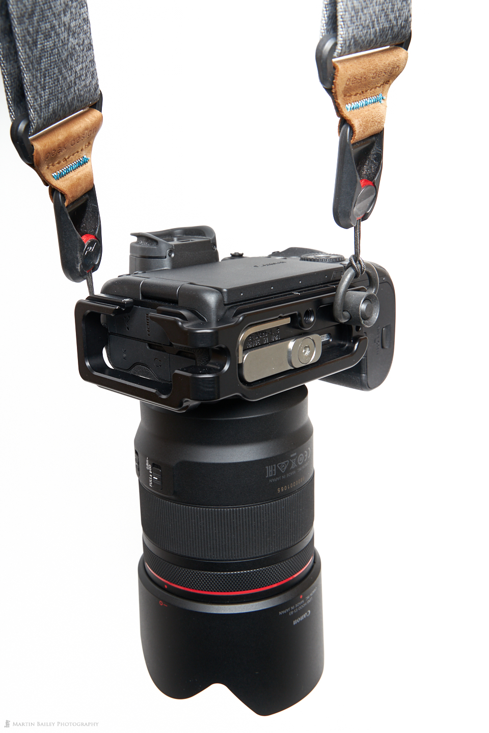 Canon EOS R5 with Strap Attached by Really Right Stuff L-Plate and Quick Detatch Loop