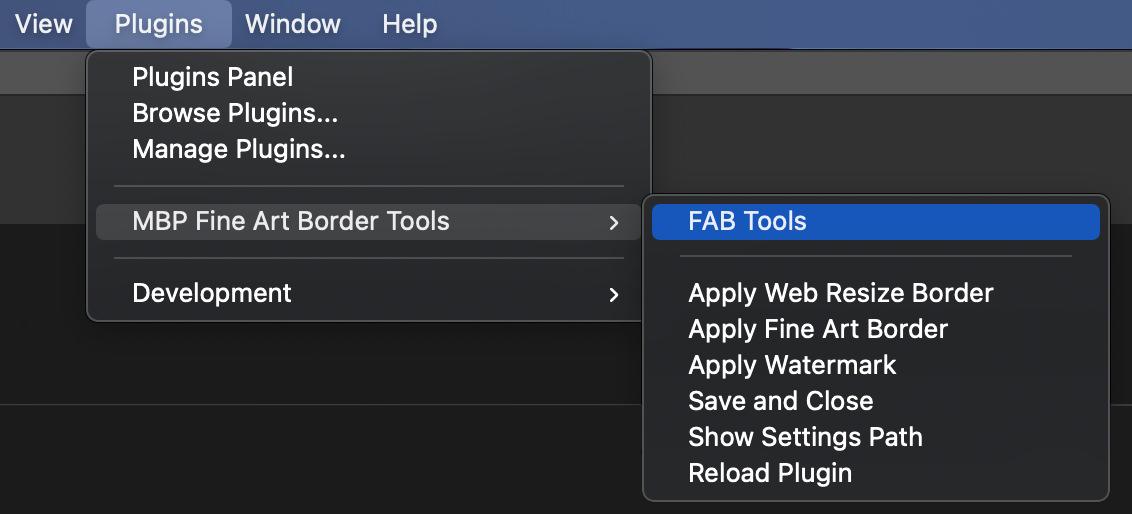 Photoshop Plugin Menu with FAB Tools